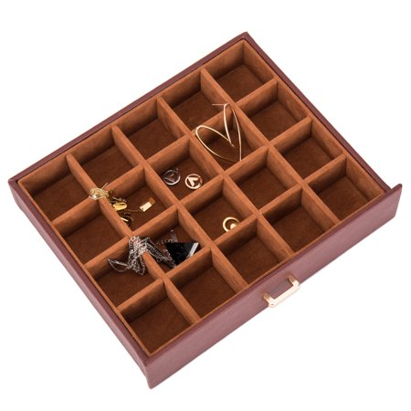 Jewelry Box Organizer Functional Huge Lockable, Leather Jewelry Storage Case for Women Girls Ring Necklace Earring Bracelet Holder Organizer with Mirror Brown