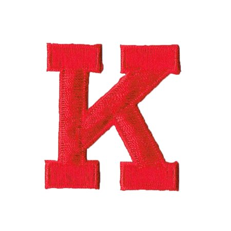 """Alphabet Letter - K - Color Red - 2"""" Block Style - Iron On Embroidered Applique Patch"""