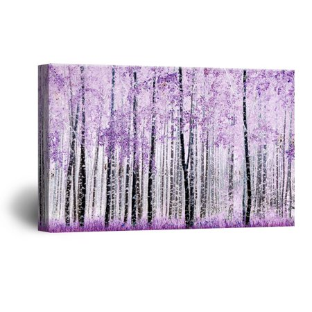 Abstract Leaf Wall Art (wall26 Canvas Wall Art - Abstract Trees with Purple Leaves in The Forest - Giclee Print Gallery Wrap Modern Home Decor Ready to Hang - 16x24)
