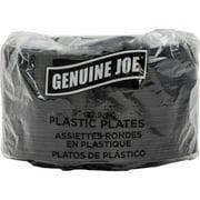 "Genuine Joe Round Plastic Black Plates, 9"" Diameter Plate - Plastic - Black - 125 Piece(s) / Pack"