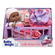 Baby Magic Crib Time Fun Play Set w/ Toy Baby Doll (Makes 6 Sounds)