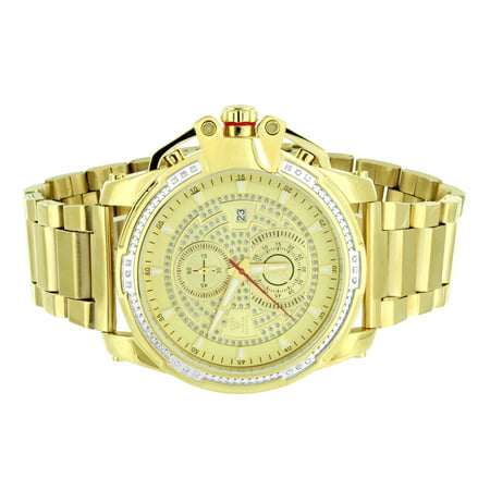 Stainless Steel Aqua Master Watch Gold Tone Mens Round Face Analog Real Diamonds