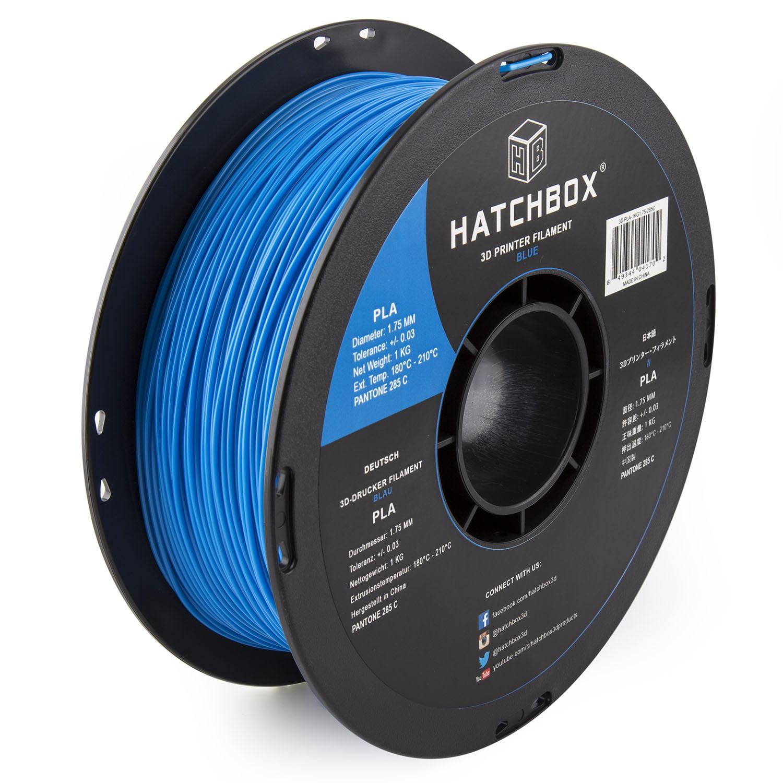 HATCHBOX 3D PLA-1KG1.75-285C PLA 3D Printer Filament, Dimensional Accuracy +/- 0.05 mm, 1 kg Spool, 1.75 mm, Blue