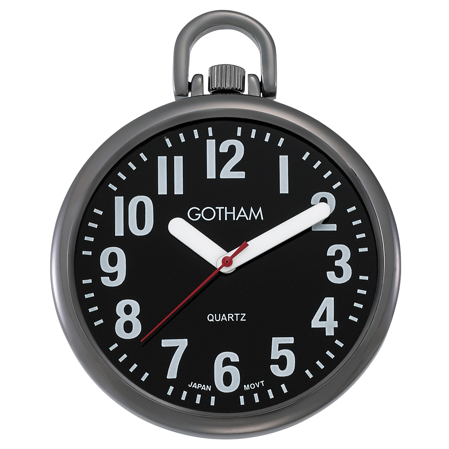 Gotham Men's Large Number Open Face Gun Metal Analog Quartz Pocket Watch with Chain # GWC15033BBK