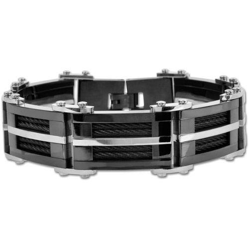 """Steel Art Men's Stainless Steel Matte and Polish Finished Black PVD Bracelet with Multiple Black Inlayed Cables and A Single Steel-Tone Strip Going Down the Middle, 9"""""""