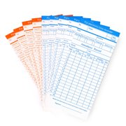 Time Cards, Monthly Timesheet, Clock Timecard - 100 Pack, 6 Column 2-Sided Orange / Blue, Card for Time Punch Clock, Employee Attendance, Payroll Recorder, Small Business