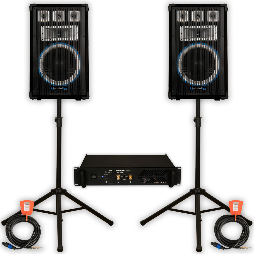 Technical Pro VRTX12 Speakers Amp Stands and Cables 2000W PA DJ Karaoke VRTX12SET2