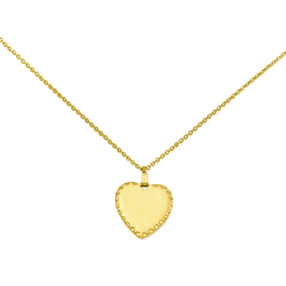 18in Gold-plated Medium Polished Engraveable Heart Disc Necklace