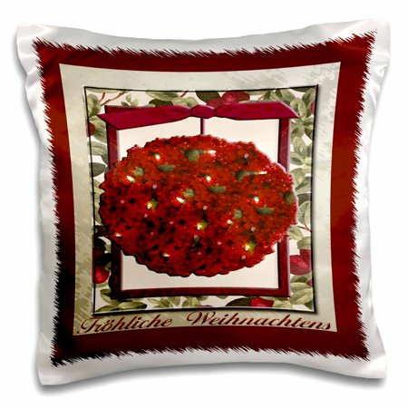 3dRose Fr�hliche Weihnachten, Merry Christmas in German, Cranberry Ornament - Pillow Case, 16 by 16-inch