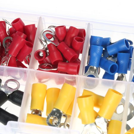 102PCS Assorted Insulated Terminals 10 Kinds Copper Crimp Electrical Wire Cable Connector Kit Cord Ring End Set - image 3 of 7