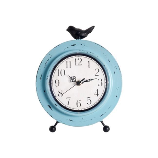 Ashton Sutton CX1731 Aqua Finish Metal Case Table Clock with Bird Perching
