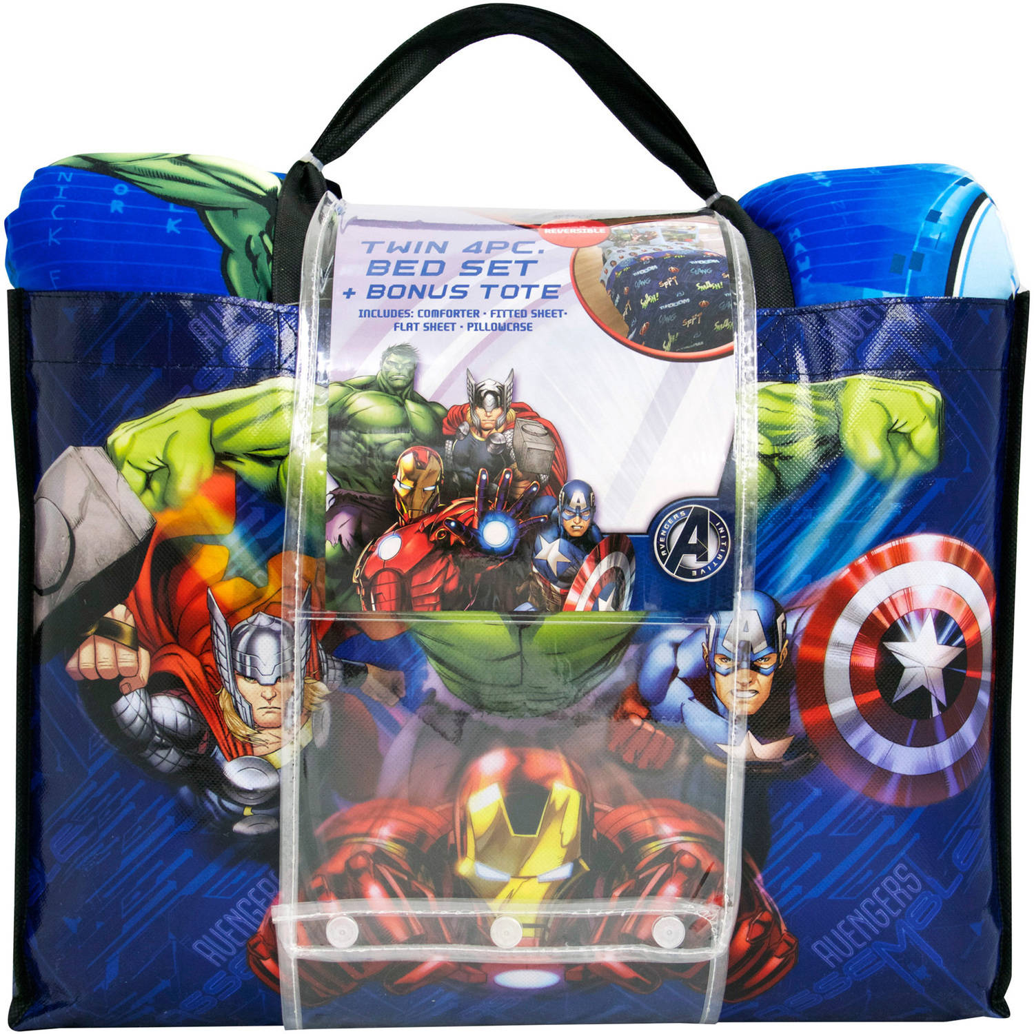 Avengers bedding set twin - Marvel Avengers Assemble Smash 4 Piece Bedding Set With Bonus Tote Walmart Com