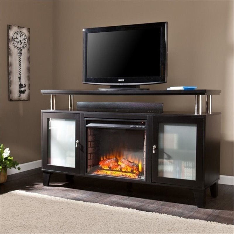 "Bowery Hill 60"" Fireplace TV Stand in Black"