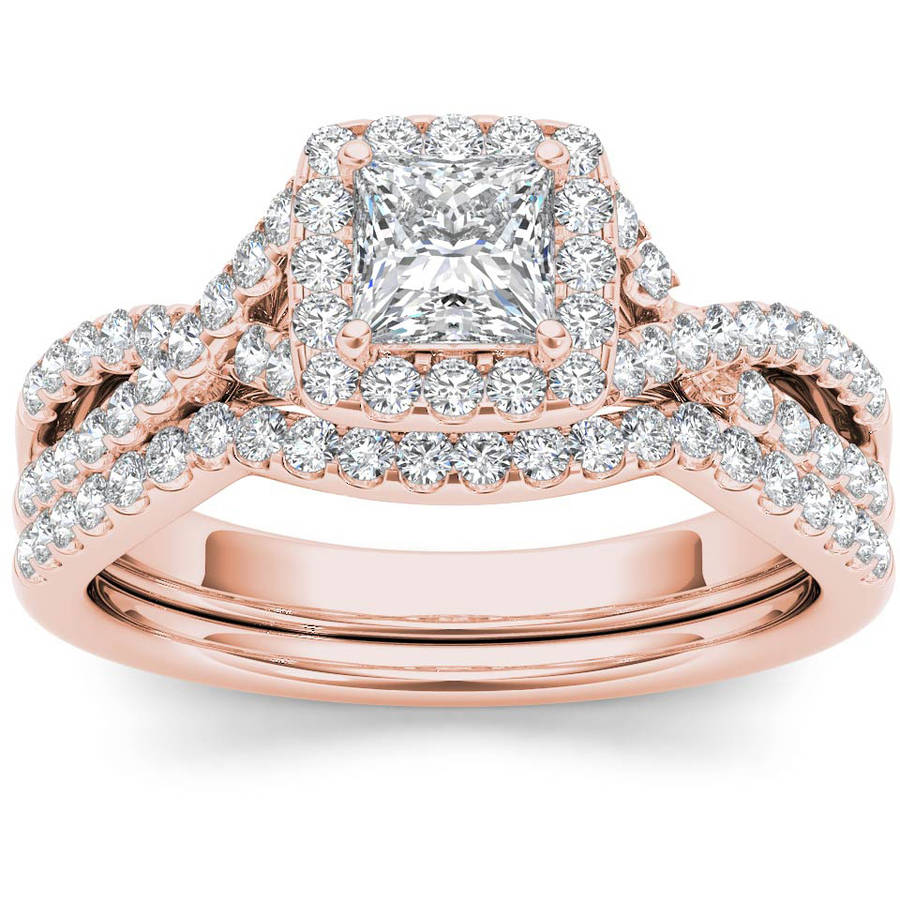 Imperial 1 Carat T.W. Diamond Criss-Cross Shank Single Halo 14kt Rose Gold Engagement Ring Set by Imperial Jewels