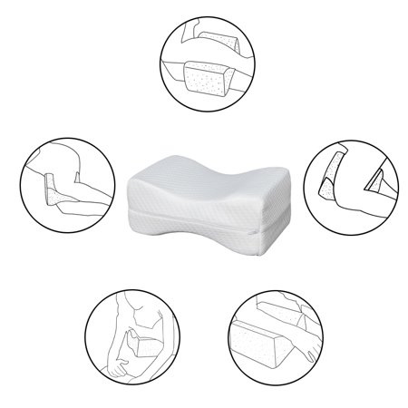 Clearance! Memory Foam Wedge Pillow, Knee Pillow for Sciatica Relief, Back, Leg, Hip, and Joint Pain, Pillow Wedges for Sleeping, Knee Pillow for Side Sleepers, Washable Pillow Cover, White,