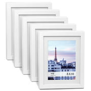 Cavepop Set of 5 - 8x10 White Picture Frames with White Mat