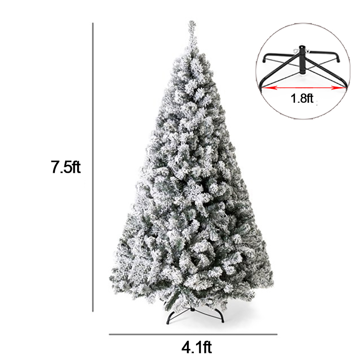 5//6//7FT Snow White Flocking Artificial Christmas Tree with Stand Xmas Decor