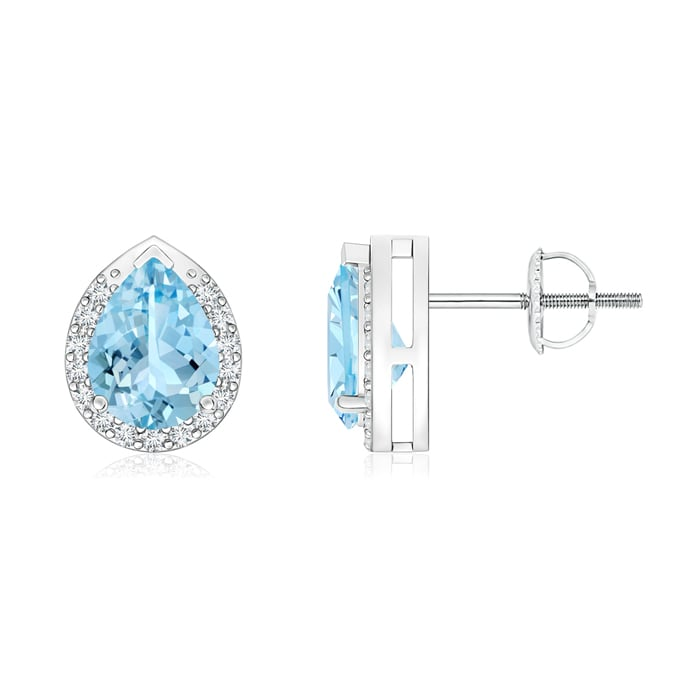 Angara Pear-Shaped Aquamarine Stud Earrings with Diamond Halo FS32kbaV