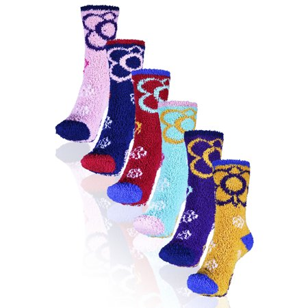 Basico Soft Warm Microfiber Cozy Fuzzy Winter Socks Crew 6 Pairs