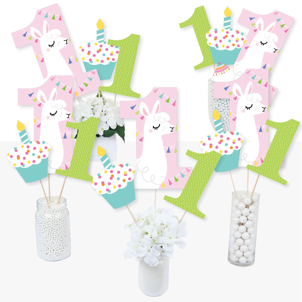 1st Birthday Whole Llama Fun - Llama Fiesta First Birthday Party Centerpiece Sticks - Table Toppers - Set of 15