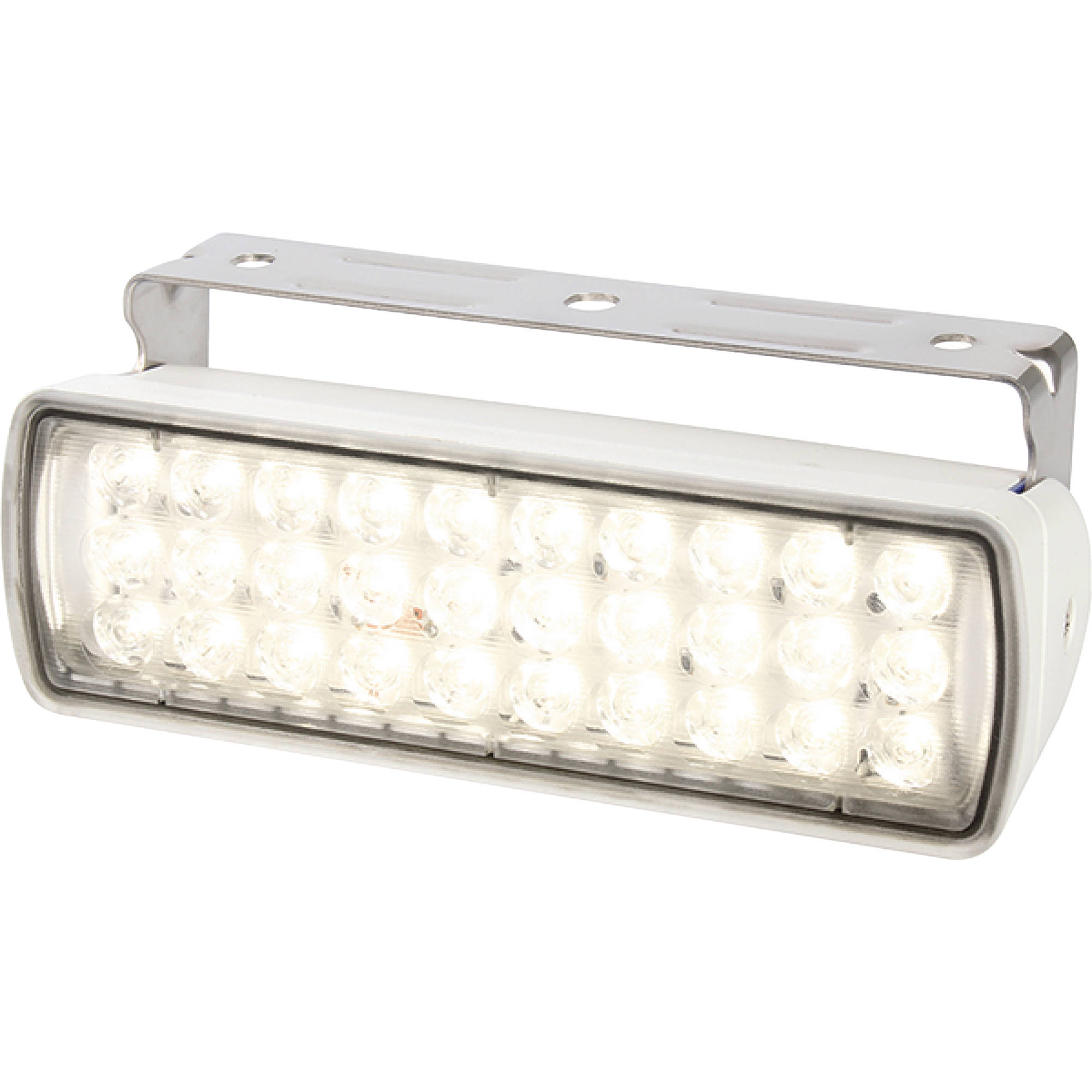 Hella Sea Hawk-XL 9-33V DC Bracket Mount White Light LED Floodlight, White Housing, Spread