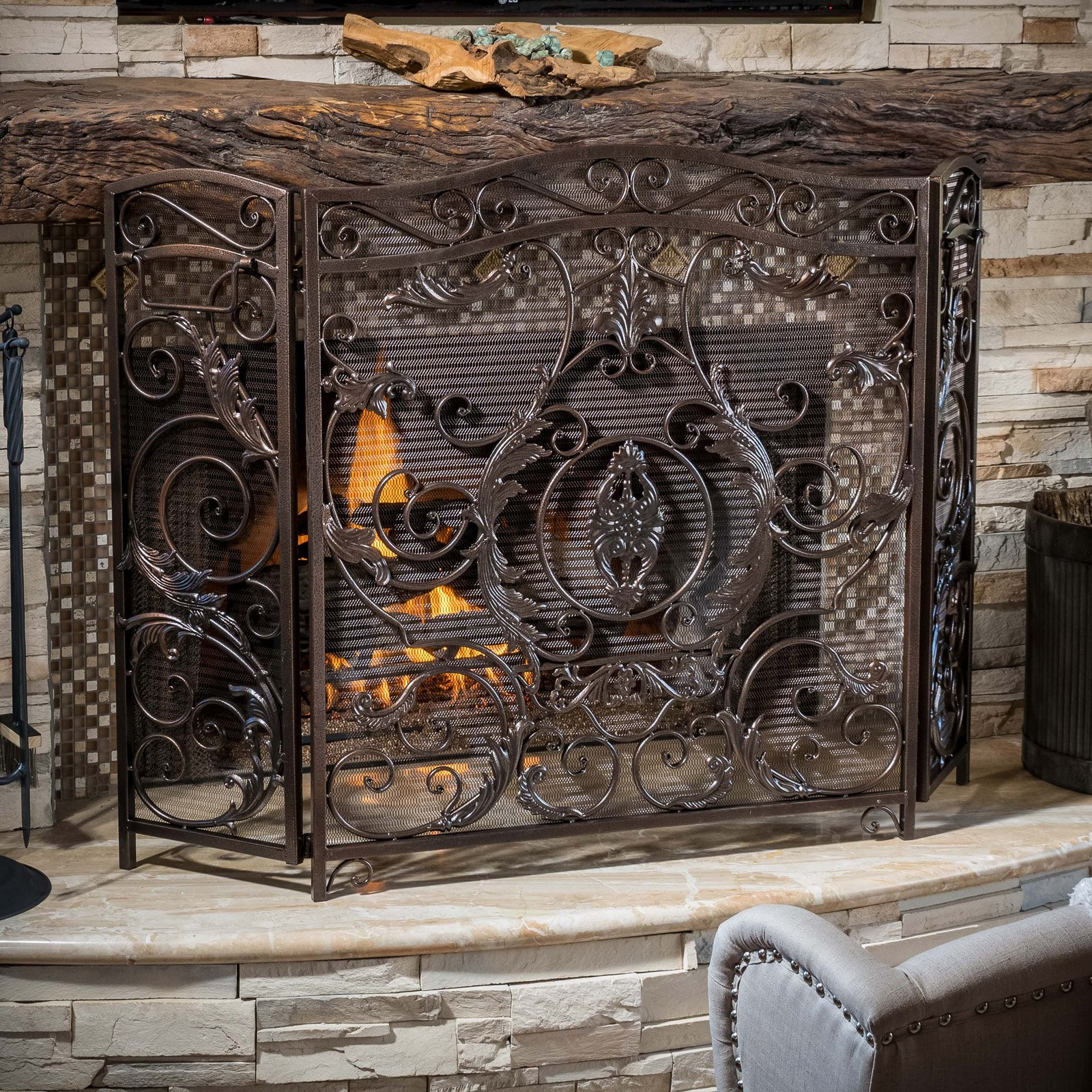Superb Hayward 3 Panel Iron Fireplace Screen Home Interior And Landscaping Ologienasavecom