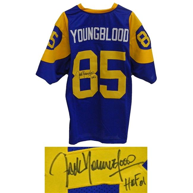 Schwartz Sports Memorabilia YOUJRY301 Jack Youngblood Signed Blue & Yellow Throwback Custom Football Jersey
