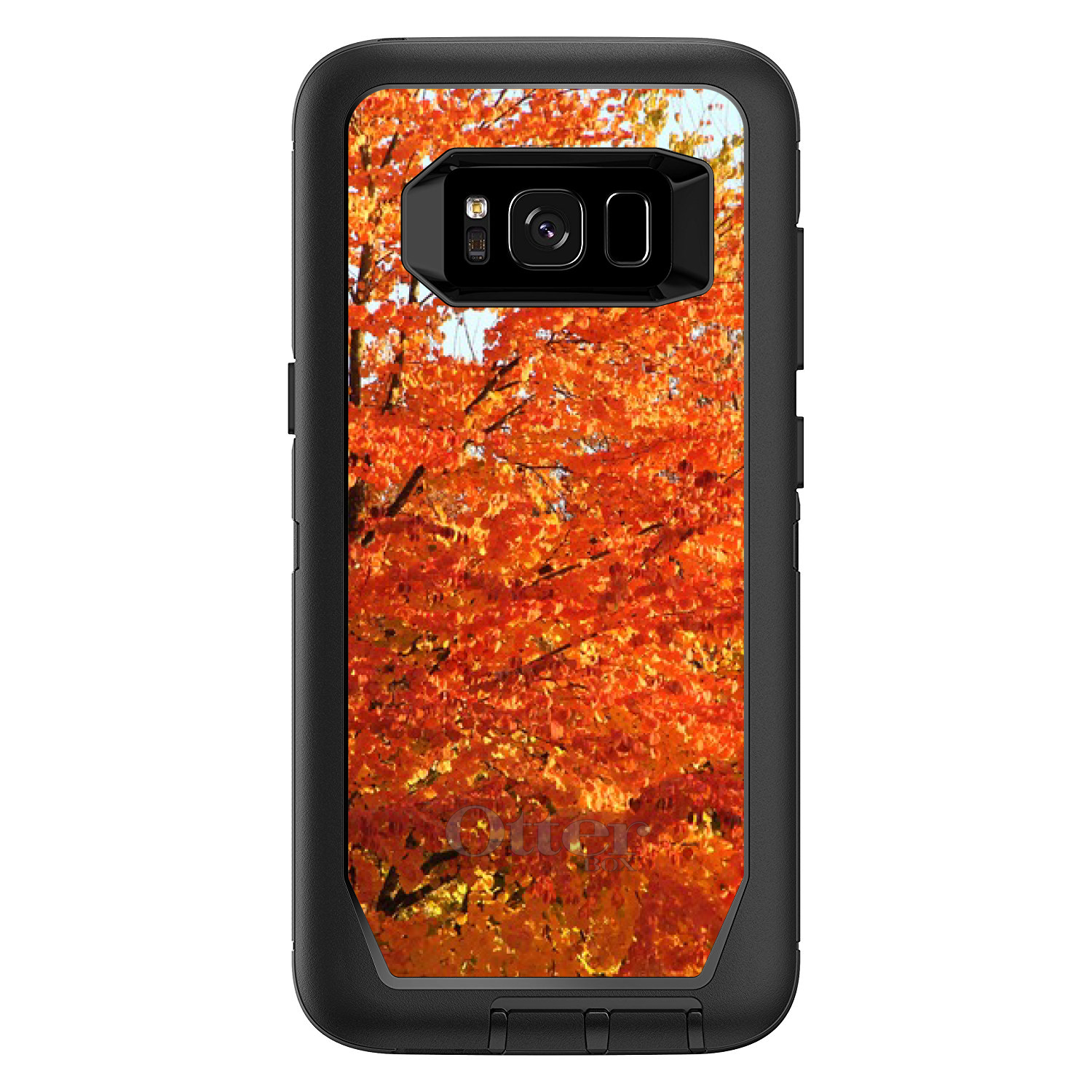 "DistinctInk™ Custom Black OtterBox Defender Series Case for Samsung Galaxy S8 (5.8"" Screen) - Orange Autumn Leaves"