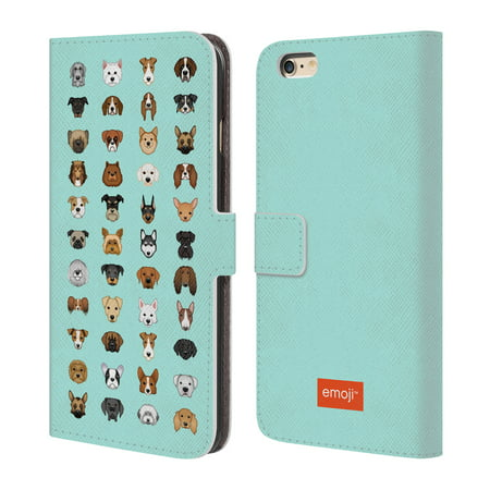 OFFICIAL EMOJI DOGS LEATHER BOOK WALLET CASE COVER FOR APPLE IPHONE