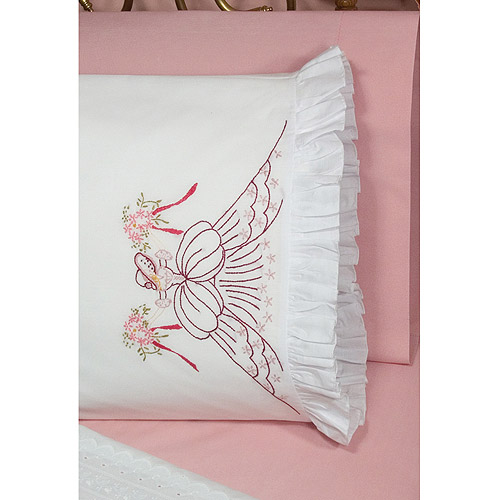 "Fairway Needlecraft Bouquet Lady Stamped Lace Edge Pillowcase Pair, 30"" x 20"""