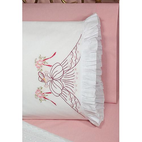 Fairway Needlecraft 82587 Vintage Ruffled Edge Pillowcases, Bouquet Lady Design, Standard, White Multi-Colored