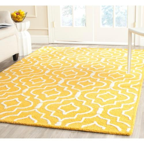 Safavieh Handmade Moroccan Cambridge Gold Ivory Wool Area Rug 9 X