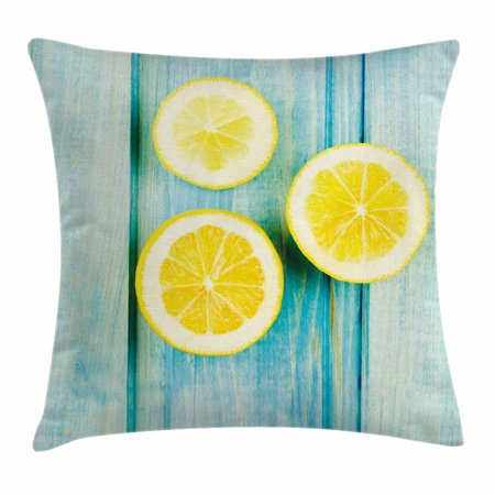 Yellow and Blue Throw Pillow Cushion Cover, Juicy Lemon Slices on Old Wooden Planks Porch Summer Refreshing Image, Decorative Square Accent Pillow Case, 18 X 18 Inches, Yellow Sky Blue, by Ambesonne