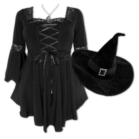 Plus and Regular Size Women's Halloween Witch Costume with Dare to Wear Renaissance Top and a Witch Hat (Renaissance Witch)