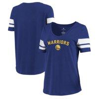 Golden State Warriors Let Loose by RNL Women's Scramble Two Stripe Tri-Blend T-Shirt - Royal