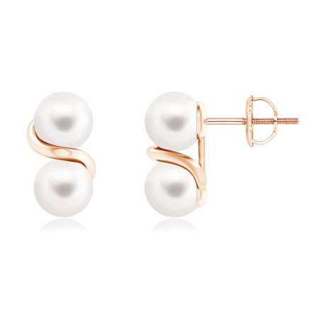 Angara Holiday Two Stone Freshwater Cultured Pearl Earrings With Metal Swirl In 14k Rose Gold 6mm Se1326fwpr Rg Aa 6
