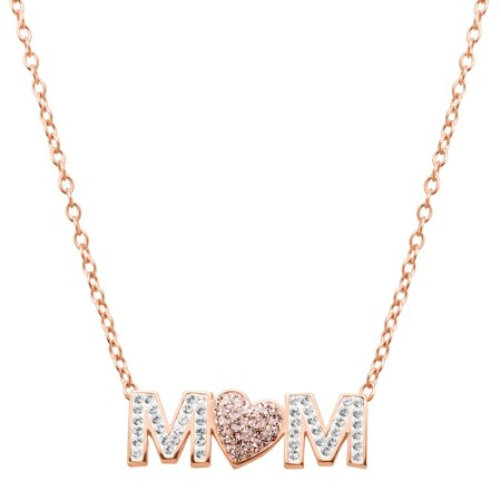 Luminesse 'Mom' Pink Heart Necklace with Swarovski Crystals in 18kt Rose Gold-Plated Sterling (Swarovski Crystal 18kt Gold Plated)