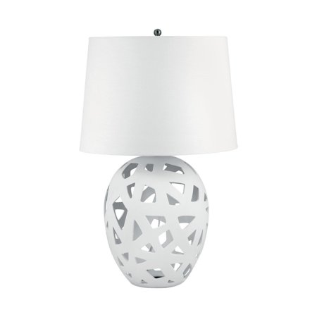 - New Product  Open Work Bisque Ceramic Table Lamp In White 324W Sold by VaasuHomes