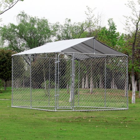 "116"" x 116"" Outdoor Square 12-Gauge Chain Link Dog Kennel With Shelter (Cheap Chain Link Dog Kennels For Sale)"