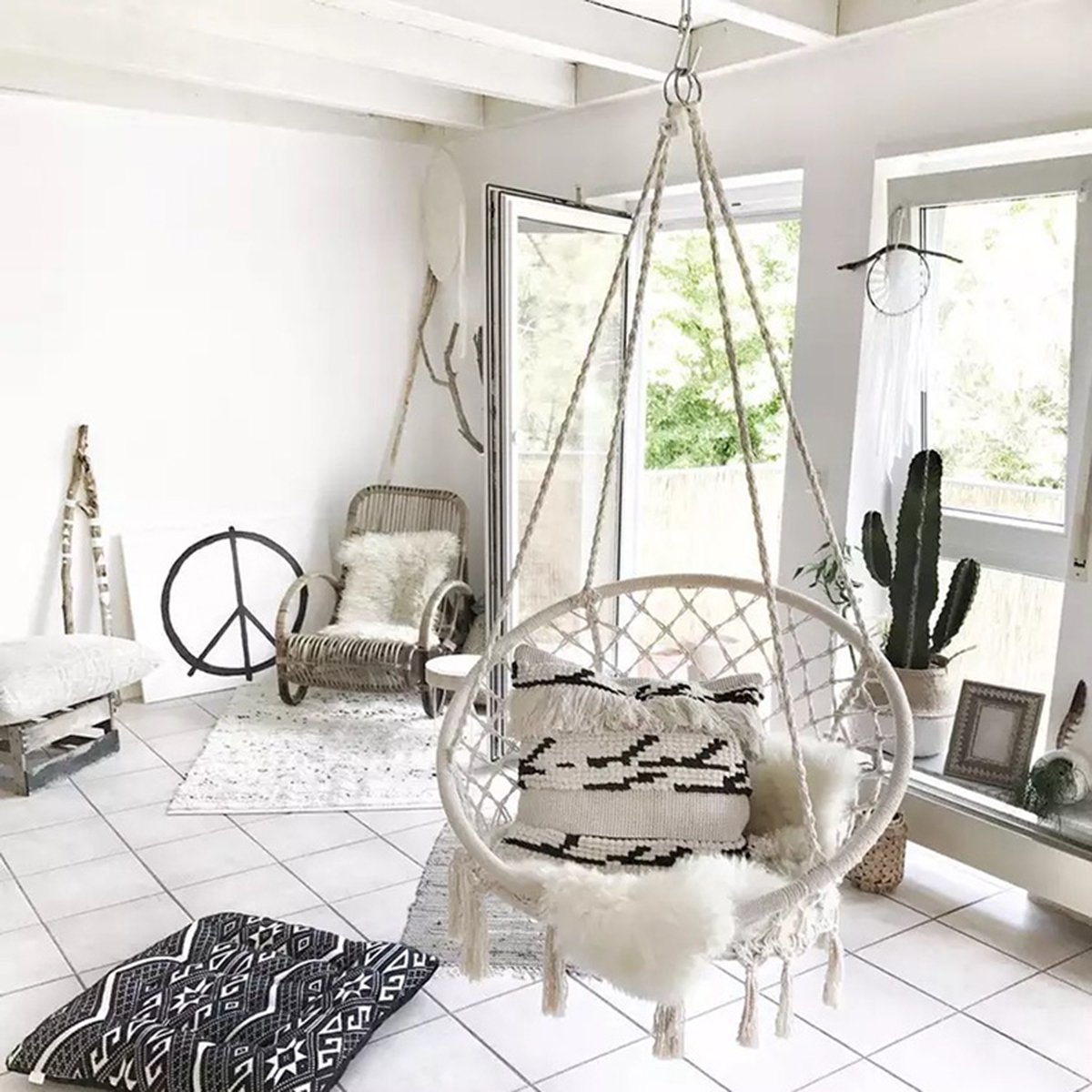 Astounding Hammock Chair Macrame Hammock Swing Chair Large Size Wih Top Circletassels 260 Pound Capacity Handmade Knitted For Indoor Outdoor Home Patio Deck Yard Unemploymentrelief Wooden Chair Designs For Living Room Unemploymentrelieforg