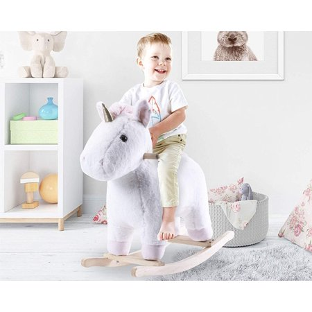 Merax Kids Plush Ride on Toy Rocking Horse Pink Unicorn Rocker Toy for Child Stuffed Animal Rocker Toy for Girl Wooden Rocking Horse ()