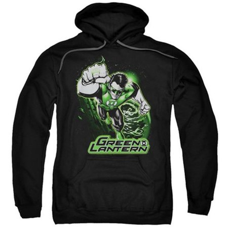 Trevco Jla-Green Lantern Green  Gray Adult Pull-Over Hoodie, Black - Medium