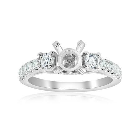 1/2ct Vintage Diamond 3 Stone Engagement Ring Setting 18K White Gold