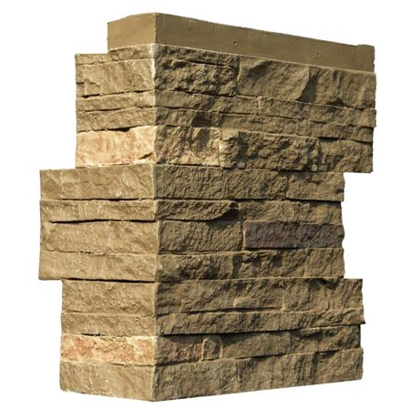 NextStone™ Faux Polyurethane Stone Outside Corner - Stacked Stone Walnut Brown