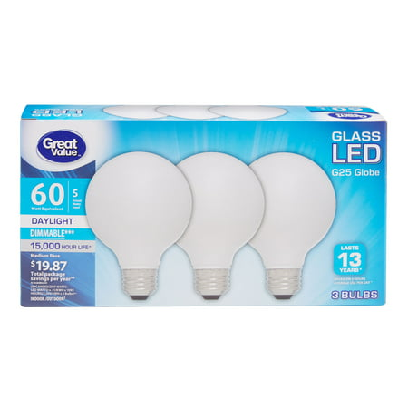 Great Value 60W Equivalent G25 Globe LED Light Bulbs, Glass, Daylight, Dimmable, 3-Pack ()