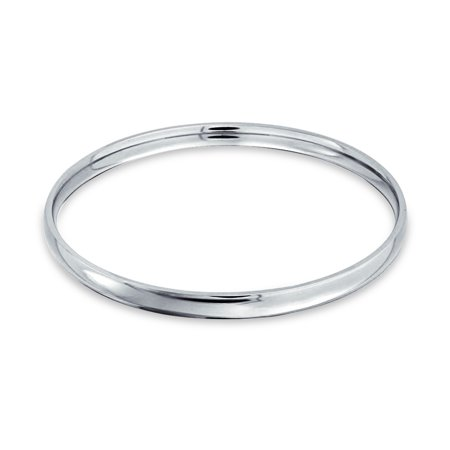 Womens Polished Stainless Steel Bracelet - Domed Stackable 5MM Round Smooth Polished Bangle Bracelet Silver Tone Stainless Steel For Women 8.5 Inch