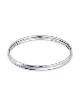 Domed Stackable 5MM Round Smooth Polished Bangle Bracelet Silver Tone Stainless Steel For Women 8.5 Inch