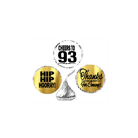 93rd Birthday / Anniversary Cheers Hooray Thanks For Coming 324pk Stickers / Labels for Chocolate Drop Hersheys Kisses, Party Favors Decorations