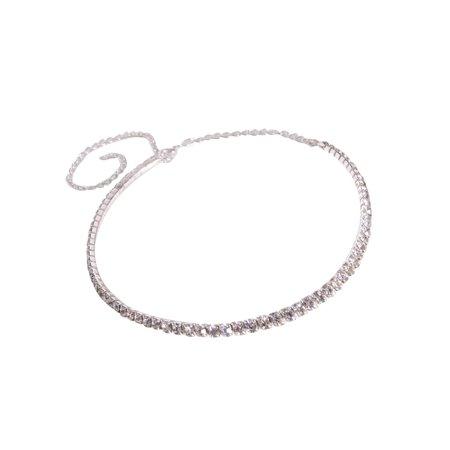 Bridal Rhinestone Necklace Silver Tone - Wedding, Prom, Party or Pageant (1-Row) Crystal Bridal Wedding Jewelry