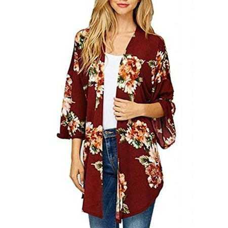 Women's Vintage Floral Loose Blouse  Boho Plus Size Coat Shawl Kimono Beach Cardigan